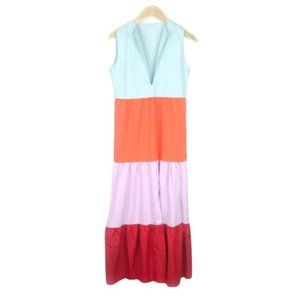 Colorful Tiered Sleeveless Maxi Dress